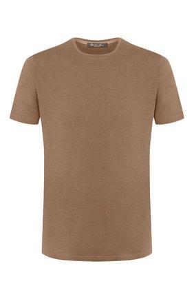 Мужская футболка из шелка и хлопка LORO PIANA темно-бежевого цвета, арт. FAF6128 | Фото 1