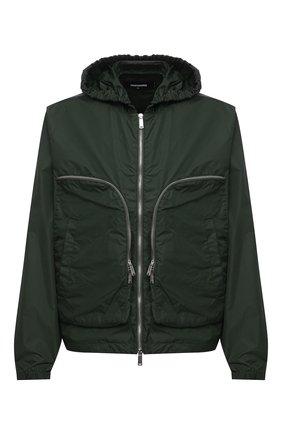 Мужская куртка DSQUARED2 темно-зеленого цвета, арт. S74AM1121/S53582 | Фото 1 (Материал внешний: Синтетический материал; Кросс-КТ: Ветровка, Куртка; Стили: Гранж; Рукава: Длинные; Длина (верхняя одежда): Короткие)