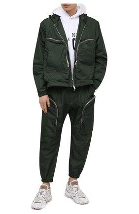 Мужская куртка DSQUARED2 темно-зеленого цвета, арт. S74AM1121/S53582 | Фото 2 (Материал внешний: Синтетический материал; Кросс-КТ: Ветровка, Куртка; Стили: Гранж; Рукава: Длинные; Длина (верхняя одежда): Короткие)