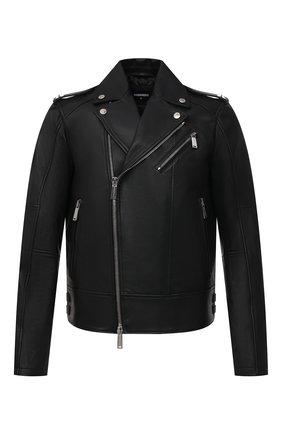 Мужская кожаная куртка DSQUARED2 черного цвета, арт. S74AM1144/SY1491   Фото 1