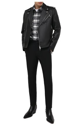 Мужская кожаная куртка DSQUARED2 черного цвета, арт. S74AM1144/SY1491   Фото 2