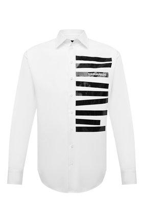 Мужская хлопковая рубашка DSQUARED2 белого цвета, арт. S71DM0464/S36275   Фото 1