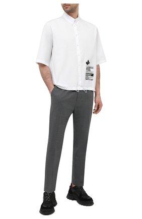 Мужская хлопковая рубашка DSQUARED2 белого цвета, арт. S74DM0503/S36275   Фото 2