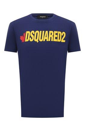 Мужская хлопковая футболка DSQUARED2 темно-синего цвета, арт. S74GD0834/S21600 | Фото 1 (Длина (для топов): Стандартные; Материал внешний: Хлопок; Стили: Гранж; Принт: С принтом; Рукава: Короткие)