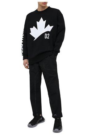 Мужской хлопковый свитшот DSQUARED2 черного цвета, арт. S74GU0490/S25030 | Фото 2 (Длина (для топов): Стандартные; Материал внешний: Хлопок; Рукава: Длинные; Мужское Кросс-КТ: свитшот-одежда; Стили: Гранж; Принт: С принтом)