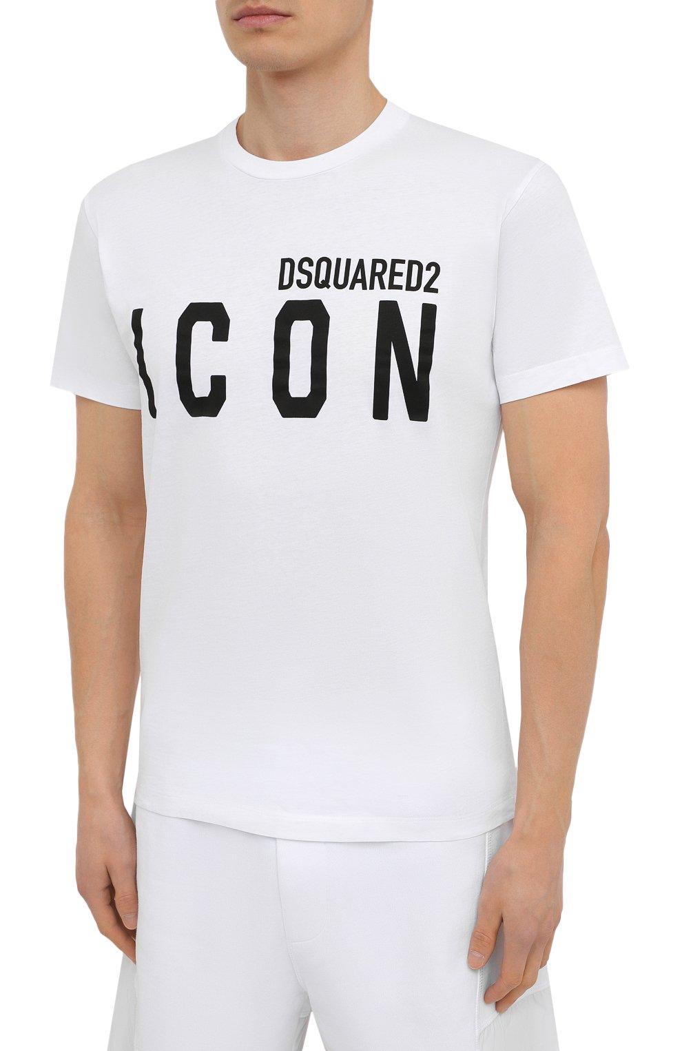 Мужская хлопковая футболка DSQUARED2 белого цвета, арт. S79GC0003/S23009   Фото 3 (Рукава: Короткие; Длина (для топов): Стандартные; Стили: Гранж; Принт: С принтом; Материал внешний: Хлопок)