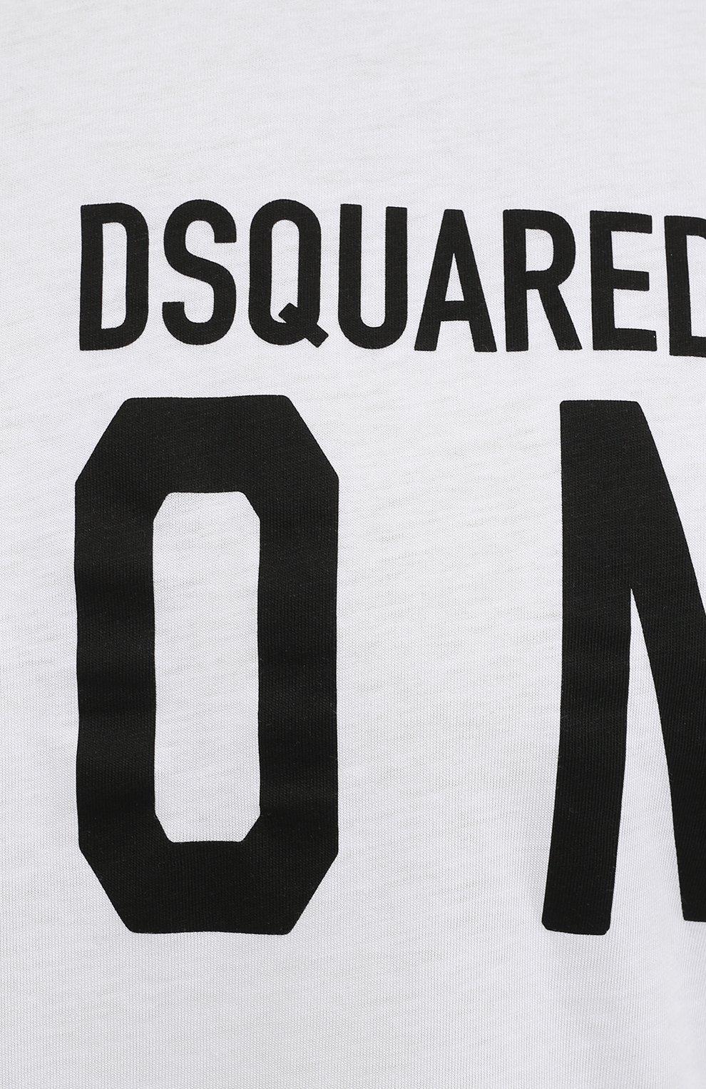 Мужская хлопковая футболка DSQUARED2 белого цвета, арт. S79GC0003/S23009   Фото 5 (Рукава: Короткие; Длина (для топов): Стандартные; Стили: Гранж; Принт: С принтом; Материал внешний: Хлопок)