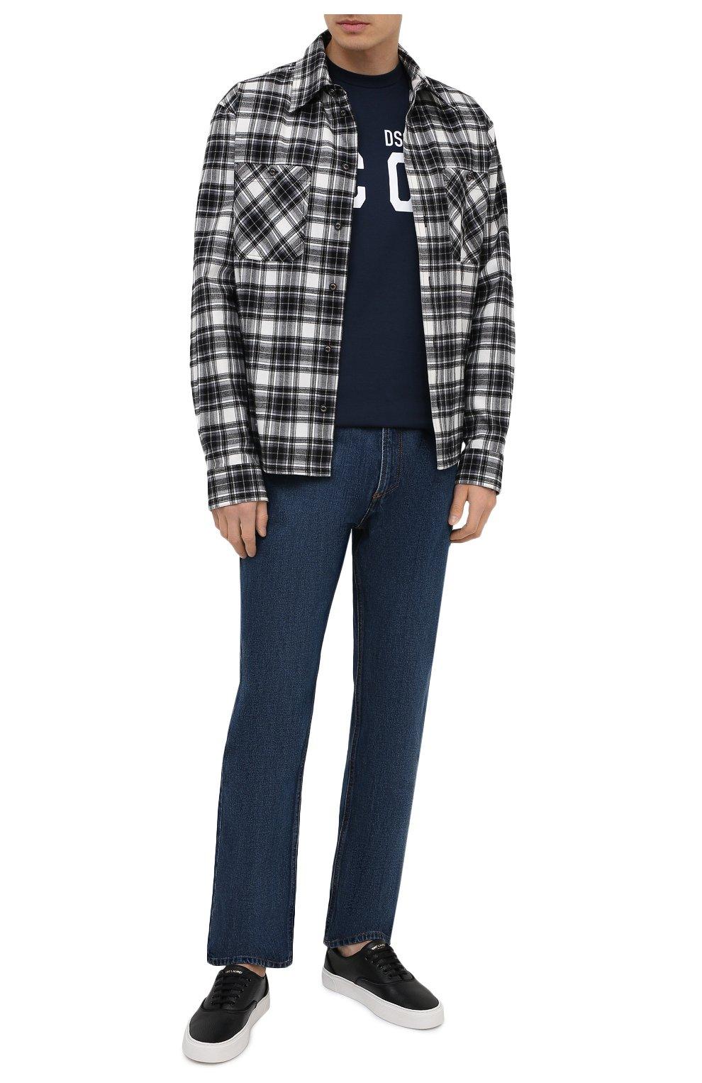Мужская хлопковая футболка DSQUARED2 темно-синего цвета, арт. S79GC0003/S23009 | Фото 2 (Рукава: Короткие; Длина (для топов): Стандартные; Стили: Гранж; Принт: С принтом; Материал внешний: Хлопок)