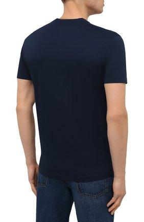Мужская хлопковая футболка DSQUARED2 темно-синего цвета, арт. S79GC0003/S23009 | Фото 4 (Рукава: Короткие; Длина (для топов): Стандартные; Стили: Гранж; Принт: С принтом; Материал внешний: Хлопок)