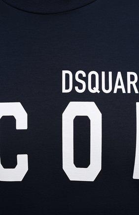 Мужская хлопковая футболка DSQUARED2 темно-синего цвета, арт. S79GC0003/S23009 | Фото 5 (Рукава: Короткие; Длина (для топов): Стандартные; Стили: Гранж; Принт: С принтом; Материал внешний: Хлопок)