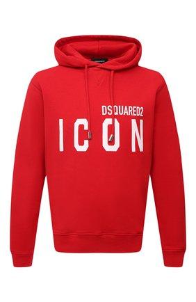 Мужской хлопковое худи DSQUARED2 красного цвета, арт. S79GU0003/S25042 | Фото 1 (Длина (для топов): Стандартные; Материал внешний: Хлопок; Принт: С принтом; Рукава: Длинные; Стили: Спорт-шик; Мужское Кросс-КТ: Худи-одежда)