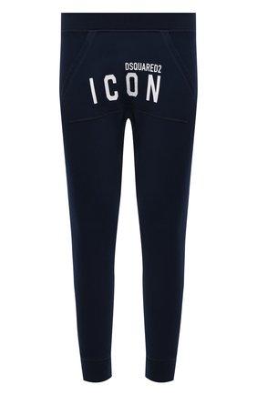 Мужские хлопковые джоггеры DSQUARED2 темно-синего цвета, арт. S79KA0001/S25042 | Фото 1 (Стили: Спорт-шик; Длина (брюки, джинсы): Укороченные; Силуэт М (брюки): Джоггеры; Материал внешний: Хлопок; Мужское Кросс-КТ: Брюки-трикотаж)