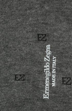 Мужские хлопковые носки ERMENEGILDO ZEGNA серого цвета, арт. N5V023800 | Фото 2