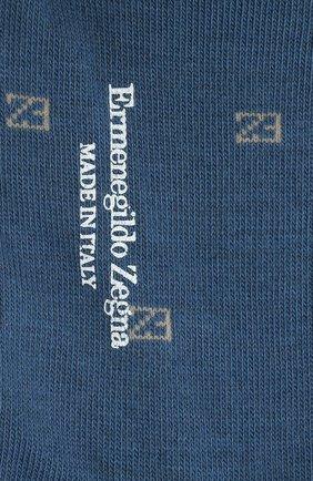 Мужские хлопковые носки ERMENEGILDO ZEGNA голубого цвета, арт. N5V023800 | Фото 2