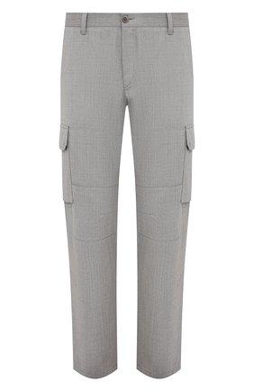 Мужские шерстяные брюки-карго BRIONI серого цвета, арт. RPAB0L/P0A8I/RANGIR0A | Фото 1 (Стили: Кэжуэл; Материал внешний: Шерсть; Длина (брюки, джинсы): Стандартные; Случай: Повседневный; Силуэт М (брюки): Карго)