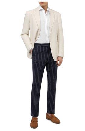 Мужские брюки из хлопка и льна RALPH LAUREN темно-синего цвета, арт. 798830245 | Фото 2 (Длина (брюки, джинсы): Стандартные; Материал подклада: Вискоза; Материал внешний: Хлопок; Случай: Формальный; Стили: Классический)