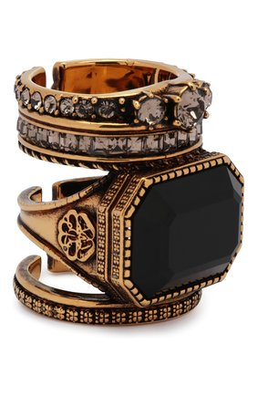 Женское кольцо ALEXANDER MCQUEEN черного цвета, арт. 650460/J160Z | Фото 1