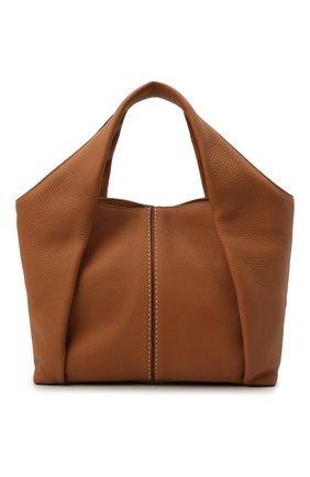 Женский сумка-шопер aou TOD'S светло-коричневого цвета, арт. XBWA0UA0200UCA   Фото 1