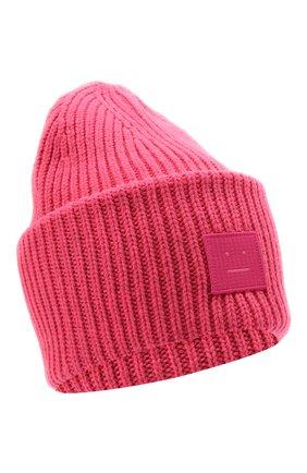 Женская шерстяная шапка ACNE STUDIOS розового цвета, арт. C40140/W | Фото 1