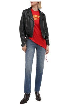 Женская хлопковая футболка DSQUARED2 красного цвета, арт. S75GD0171/S23848 | Фото 2