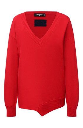 Женский хлопковый пуловер DSQUARED2 красного цвета, арт. S75HA1045/S17612 | Фото 1