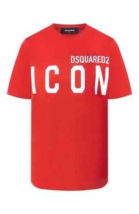 Женская хлопковая футболка DSQUARED2 красного цвета, арт. S80GC0001/S23009 | Фото 1