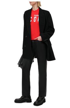 Женская хлопковая футболка DSQUARED2 красного цвета, арт. S80GC0001/S23009 | Фото 2