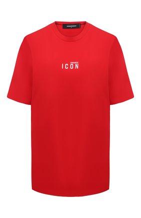 Женская хлопковая футболка DSQUARED2 красного цвета, арт. S80GC0009/S23009 | Фото 1