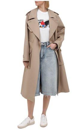 Женская хлопковая футболка DSQUARED2 белого цвета, арт. S80GC0017/S23009 | Фото 2