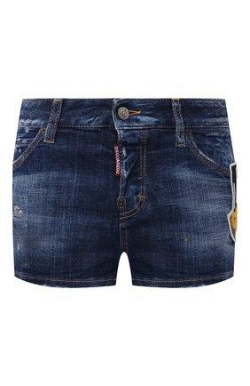 Женские джинсовые шорты DSQUARED2 синего цвета, арт. S80MU0006/S30342 | Фото 1 (Стили: Гранж; Женское Кросс-КТ: Шорты-одежда; Длина Ж (юбки, платья, шорты): Мини; Кросс-КТ: Деним; Материал внешний: Хлопок)
