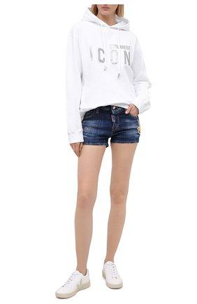 Женские джинсовые шорты DSQUARED2 синего цвета, арт. S80MU0006/S30342 | Фото 2 (Стили: Гранж; Женское Кросс-КТ: Шорты-одежда; Длина Ж (юбки, платья, шорты): Мини; Кросс-КТ: Деним; Материал внешний: Хлопок)