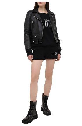 Женские хлопковые шорты DSQUARED2 черного цвета, арт. S80MU0012/S25042 | Фото 2