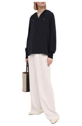 Женская шелковая блузка LORO PIANA темно-синего цвета, арт. FAI9688 | Фото 2