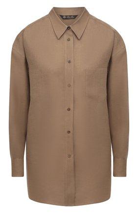 Женская льняная рубашка LORO PIANA коричневого цвета, арт. FAL5890 | Фото 1