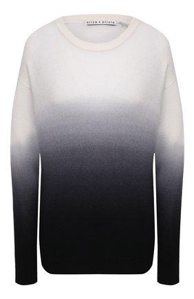 Женский кашемировый пуловер ALICE + OLIVIA черно-белого цвета, арт. CC011S28715 | Фото 1