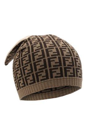 Детского хлопковая шапка FENDI коричневого цвета, арт. BUP025/A3TE | Фото 1