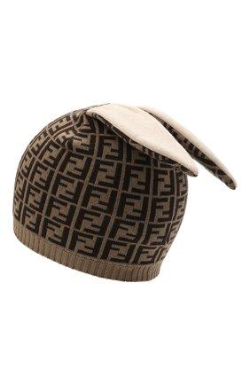 Детского хлопковая шапка FENDI коричневого цвета, арт. BUP025/A3TE | Фото 2