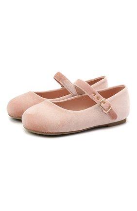 Детские вельветовые балетки AGE OF INNOCENCE розового цвета, арт. 000046/EVA/27-36 | Фото 1