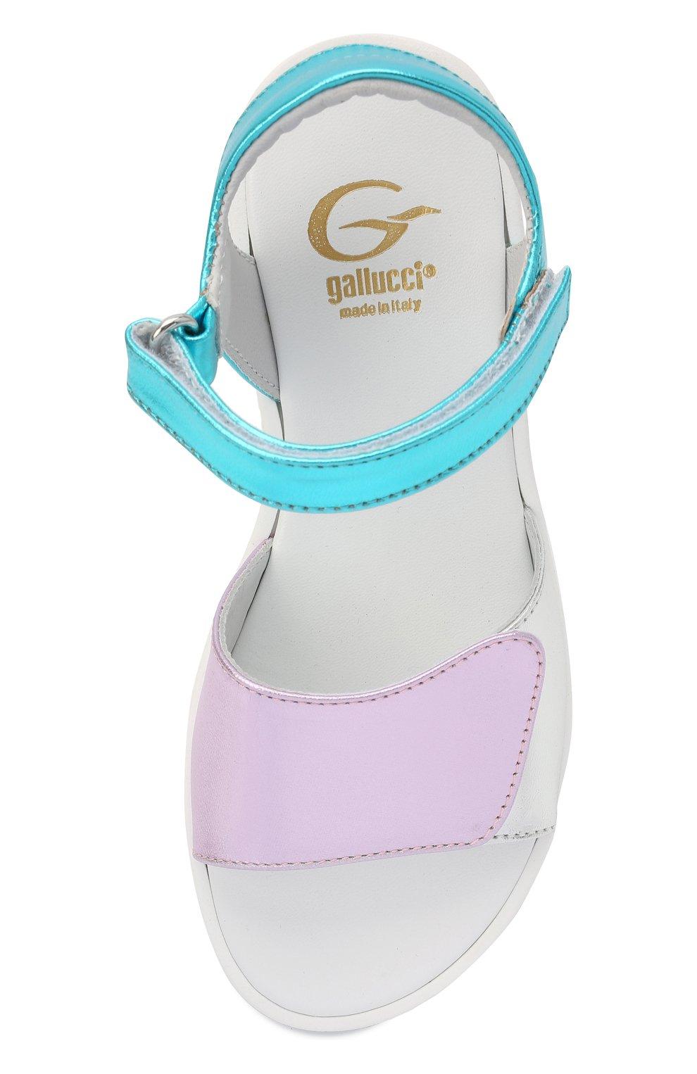 Детские кожаные босоножки GALLUCCI разноцветного цвета, арт. J004390M/SA P C G0M LAM/LAM/LAM | Фото 4 (Материал внутренний: Натуральная кожа)