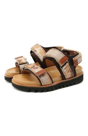 Детские кожаные сандалии GALLUCCI коричневого цвета, арт. J10078CM/SA P C G0M MAI/TMI/MAI | Фото 1