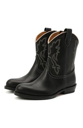 Детские кожаные ботинки GALLUCCI черного цвета, арт. J30109AM/TR P V CUG MAI | Фото 1 (Материал внутренний: Натуральная кожа; Кросс-КТ: полусапоги)