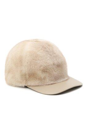 Женская кепка из меха норки KUSSENKOVV бежевого цвета, арт. 852108524006 | Фото 1