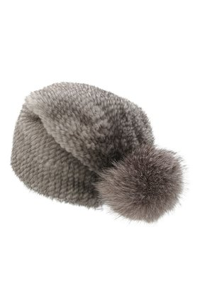 Женская шапка пиноккио из меха норки KUSSENKOVV серого цвета, арт. 50650010205 | Фото 2