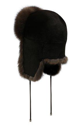 Женская шапка-ушанка из меха норки KUSSENKOVV черного цвета, арт. 90213583093 | Фото 2