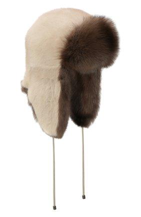 Женская шапка-ушанка из меха норки и соболя KUSSENKOVV бежевого цвета, арт. 92003424094 | Фото 1