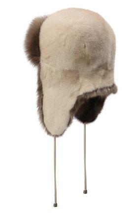 Женская шапка-ушанка из меха норки и соболя KUSSENKOVV бежевого цвета, арт. 92003424094 | Фото 2