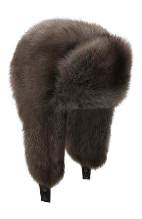 Женская шапка-ушанка из меха соболя KUSSENKOVV темно-серого цвета, арт. 93400036097 | Фото 1
