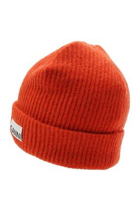 Женская шерстяная шапка GANNI оранжевого цвета, арт. A3222 | Фото 2