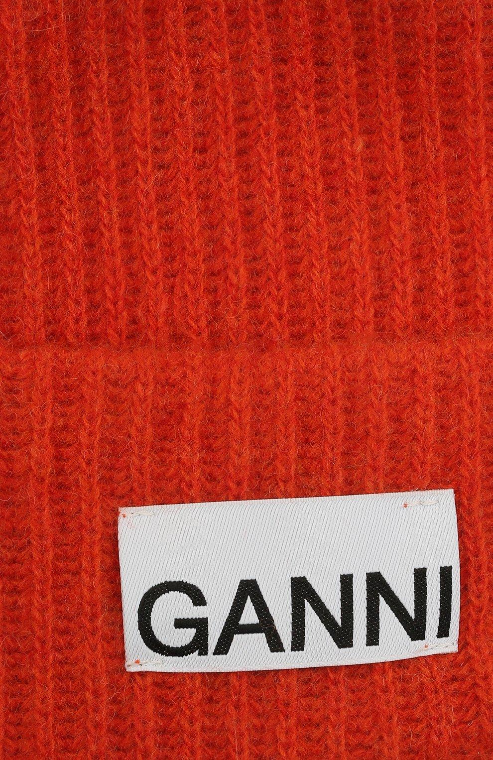 Женская шерстяная шапка GANNI оранжевого цвета, арт. A3222 | Фото 3