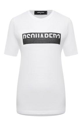 Женская хлопковая футболка DSQUARED2 белого цвета, арт. S75GD0153/S23848 | Фото 1